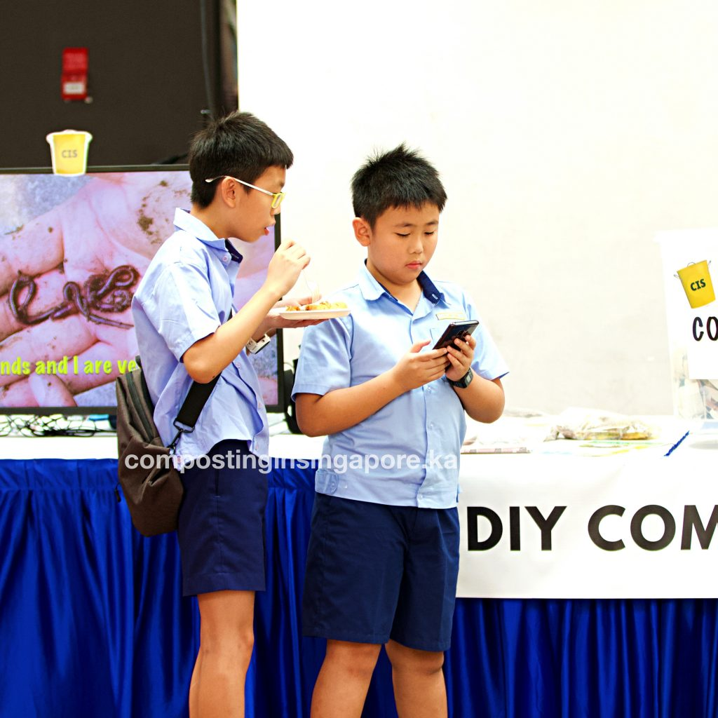 Boys participating in our online mobile compost quiz