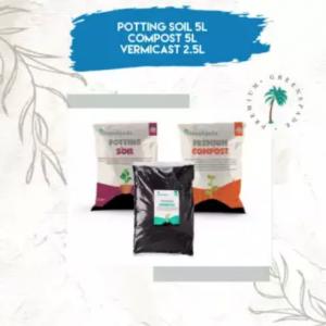 [BUNDLE] Organic Potting Soil (5L), Premium Compost (5L), Organic Vermicast (2.5L)